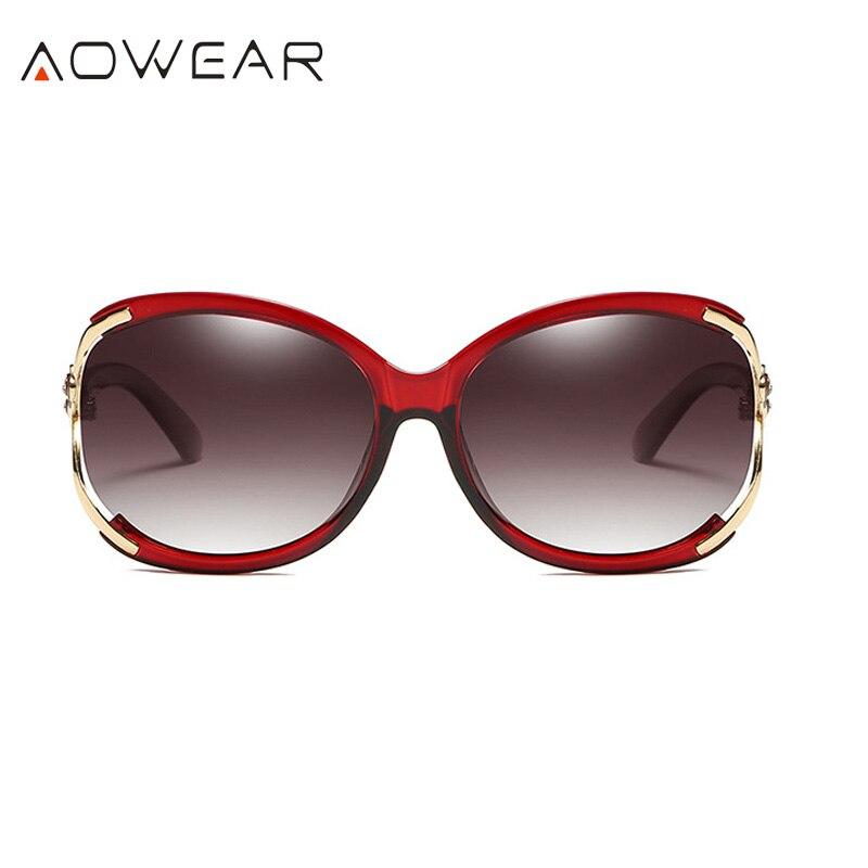 Aowear Для женщин Поляризованные овальные Защита от солнца galsses Роскошный цветок камелии женский Защита от солнца Очки цветок кристалл украшения очки Óculos De Sol - Цвет линз: Red