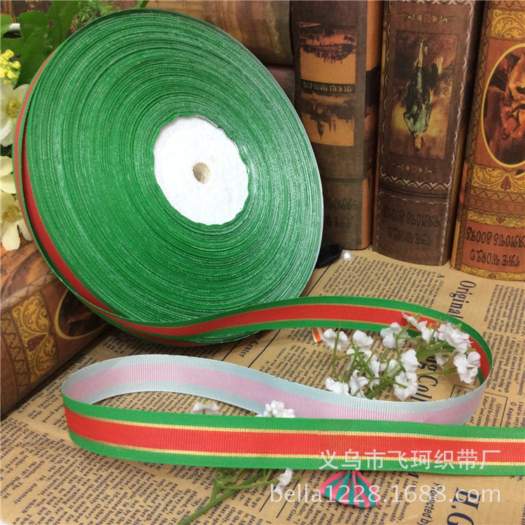 2cm thread with tricolor printing with green belt on both sides of the middle red Christmas gifts, festive supplies