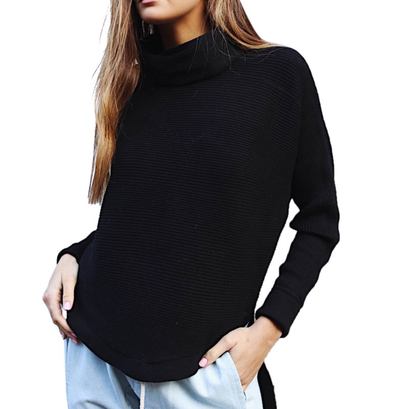 Winter Vintage Women Sweater Fashion Loose Turtleneck Knitted Pullover Ladies Long Sleeve Contrast Color Tops