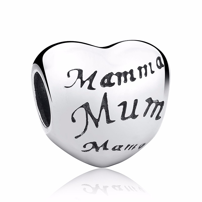 Silver Family Charm Beads - mum
