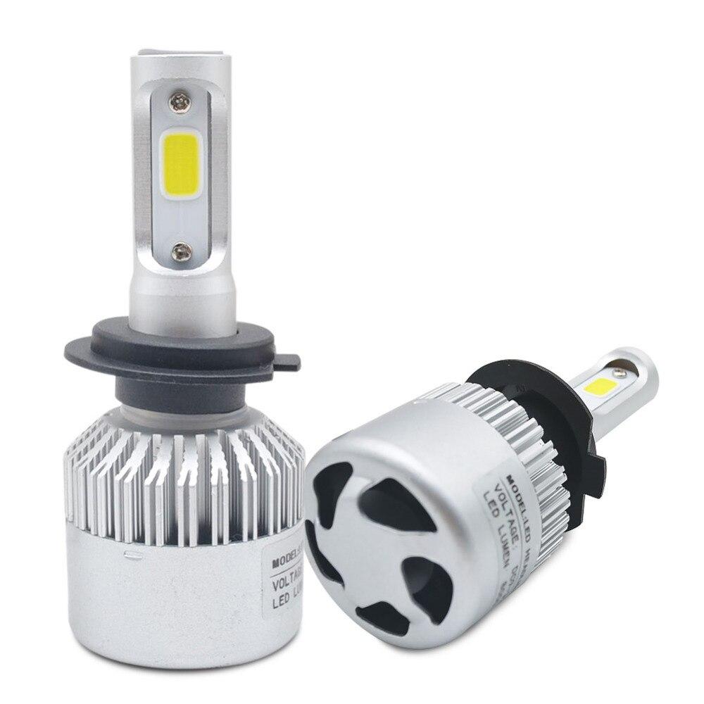2Pcs H4 LED H7 H11 H1 H3 9005 9006 COB Chip S2 Auto Car Headlight 72W