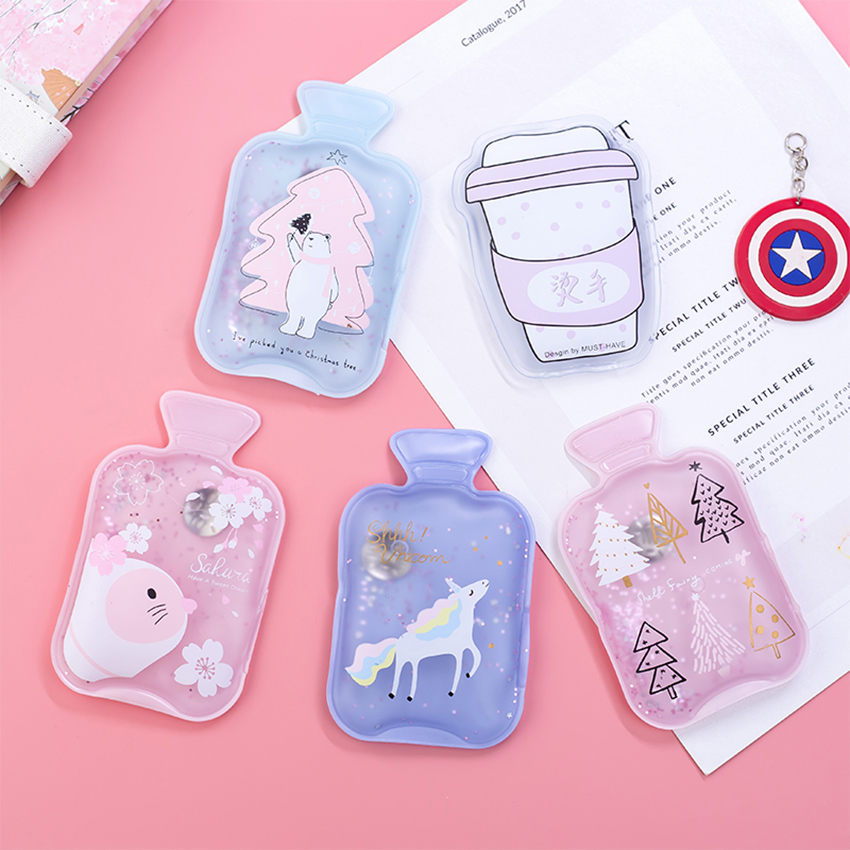 Hand-Warmers Water-Bottle Self-Heating Mini Portable Kids Cartoon Kawaii Cute Gel
