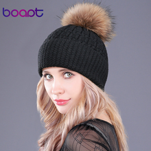 [boapt] High quality Winter Raccoon Fur Genuine Cashmere Wom