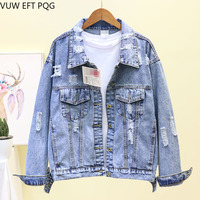 2019 spring BF Hole Woamn denim jacket female loose thin long sleeve wild short paragraph handsome jacket denim clothing