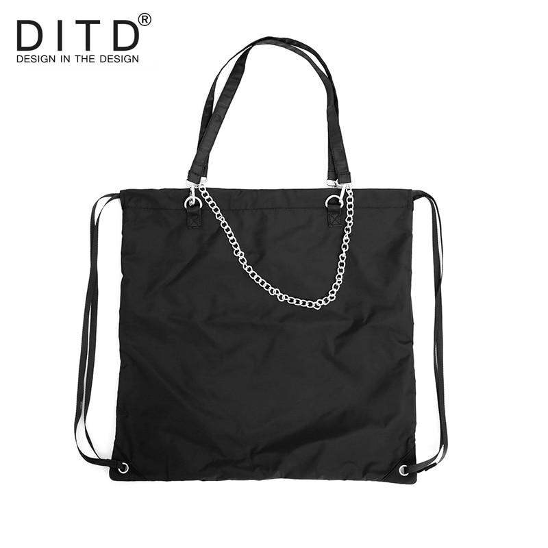Brand Large Capacity Drawstring Bags Women Men Travel Storage Package Functional Backpack Chain Shoulder Bag ZD 0766