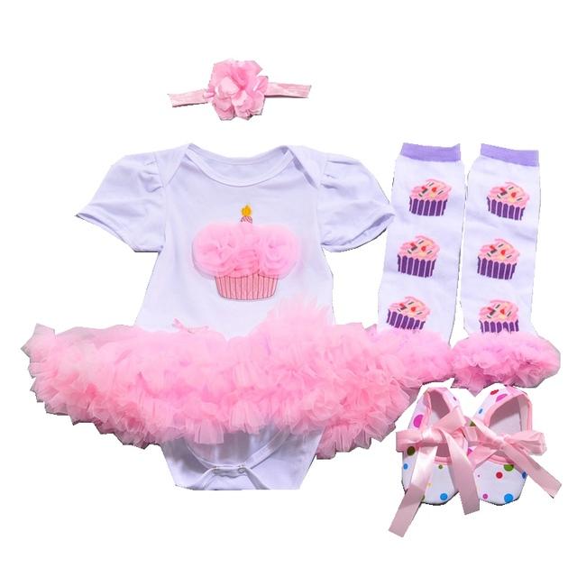 Bolo Menina primeiro Aniversário Outfit 4 pcs Bourn Conjuntos Tutu Fantasia Infantil Desgaste Meninas Do Bebê Da Criança Do Bebê-Roupas Roupa infantil