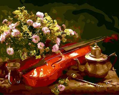 Frameless Foto Painting By Numbers Natura Morta di fiori e violino Pittura Immagine Della Decorazione Della Parete Dipinta A Mano in stile Europeo