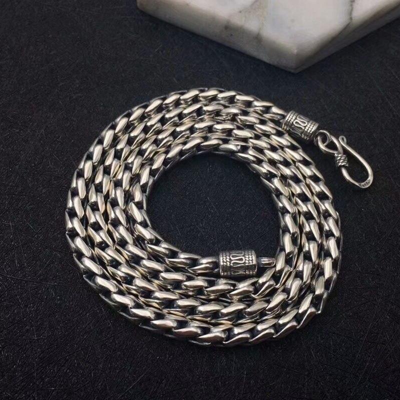 Solide argent 925 audacieux lien chaîne collier pour hommes 5mm épais Chunky collier Simple Style 100% 925 Sterling argent hommes bijoux