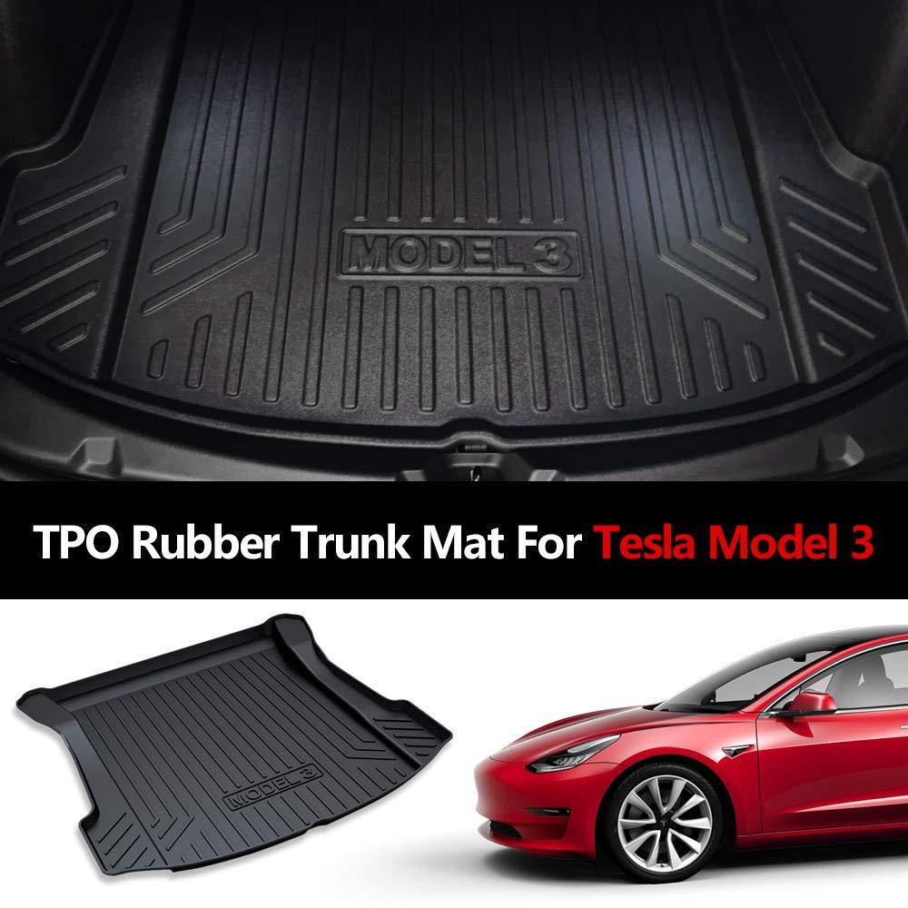 Floor Mats for Tesla Model 3 Cargo Liner Black Tray Trunk Floor Mat Front Storage Mat Rear Trunk Mat Back Rubber Storage Mat Trunk Organizers