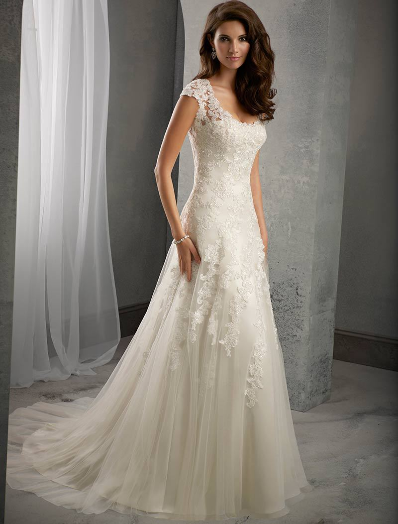 Ivory Lace Cap Sleeves Court Train Wedding Mermaid Dress ...