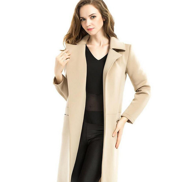 Spring & Autumn Fashion Cardigan Long Women Trench Coat Full Turn-Down Collar Open Stitch Coat Wide-waisted Casual Lady Coats