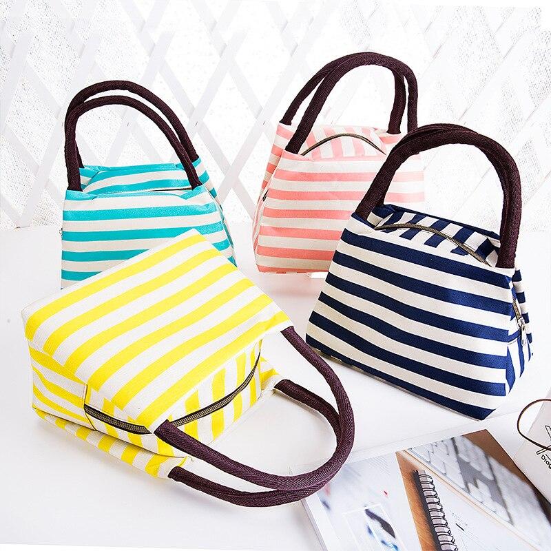 2017 new fashion lunch bag women handbags women bags waterproof stripe lunch box lunch bag for kids picnic bag lancheira WCB61