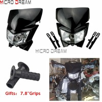 Black Naked Motorcycles StreetFighter 12v 35w Fairing Headlight Mask For Honda Suzuki Kawasaki KLX450R KLX110 Universal Headlamp