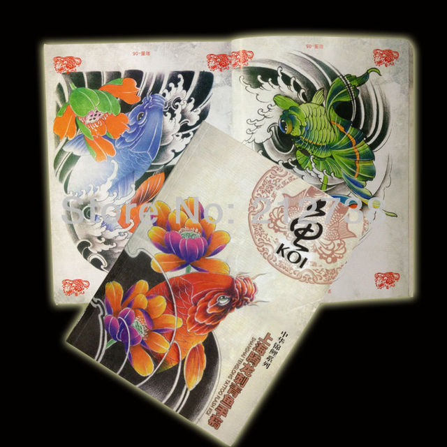 Free shipping a4 colorful koi fish tattoo sketch book 78 for Colorful fish book