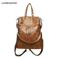 2018 Vintage Double Zipper Women Backpacks Leather Female Travel Shoulder Bag Sheepskin Genuine Leather Backpack Women Bag