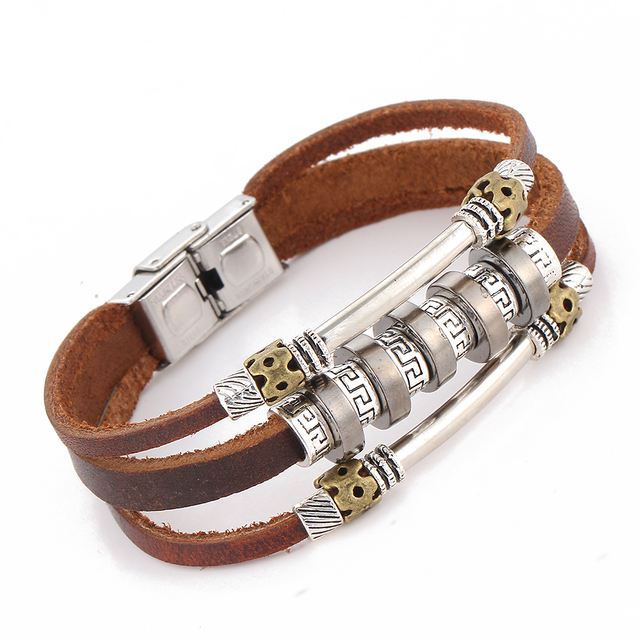 Handmade Retro Leather Charm Bracelet