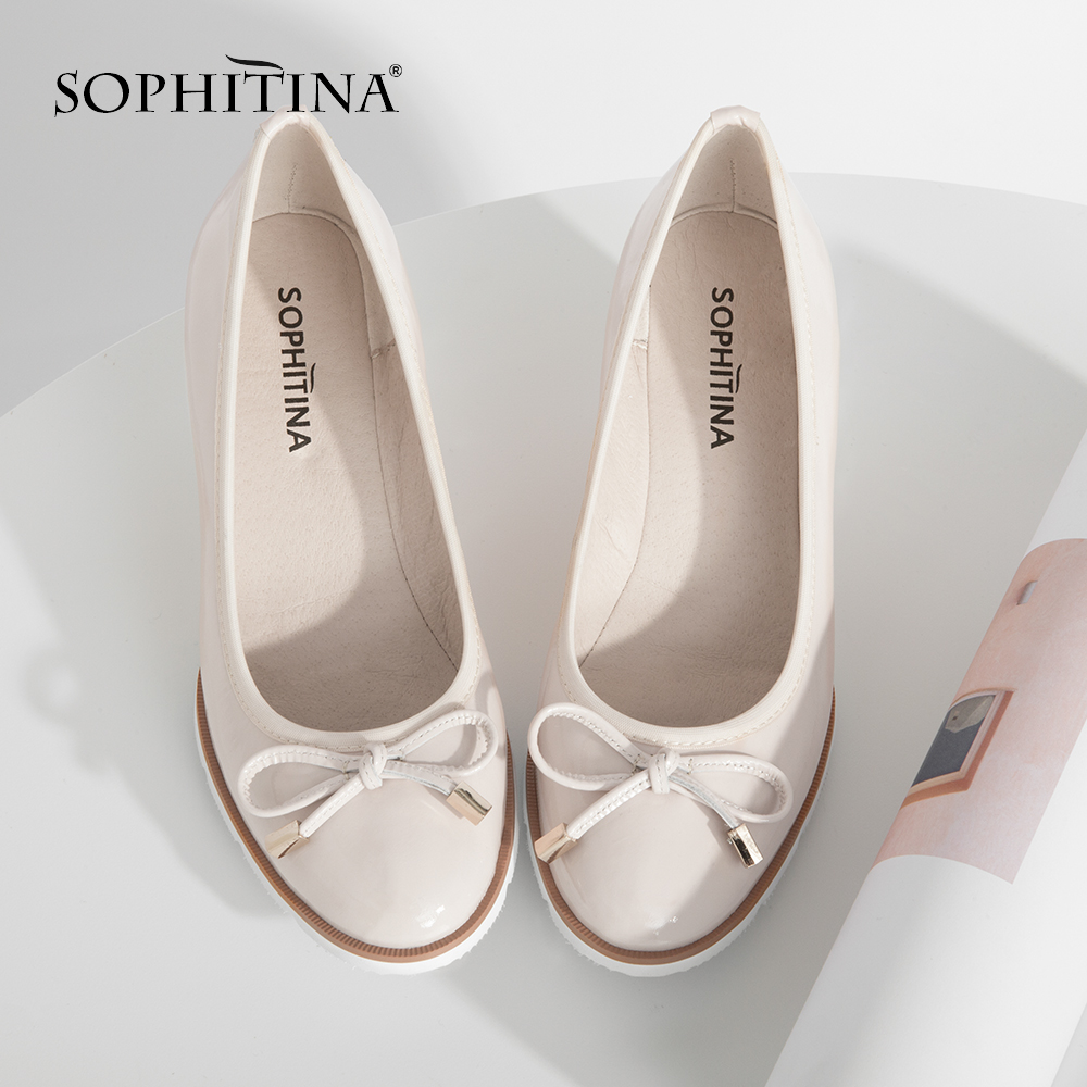 SOPHITINA Fashion Lady Wedges Pumps Genuine Leather Round Toe Comfortable Handmade Slip on Casual Shoes Butterfly