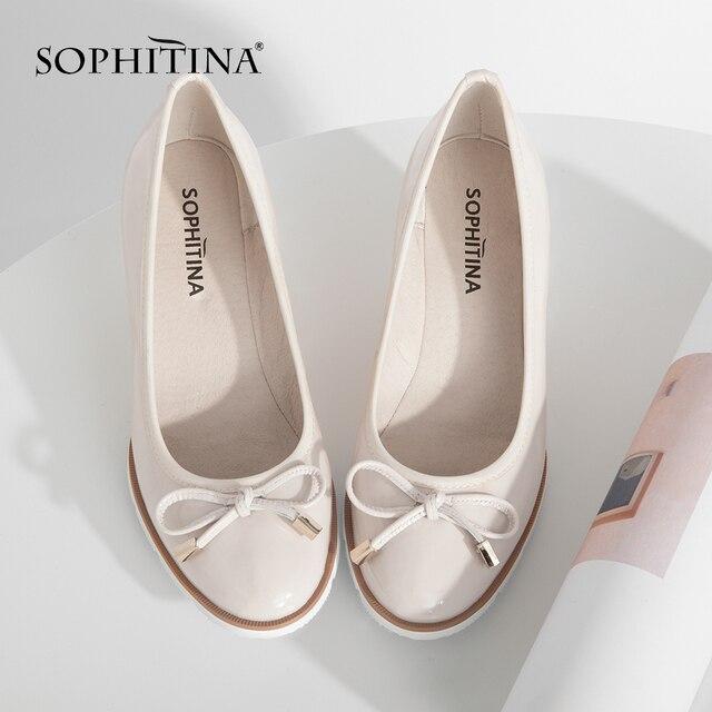SOPHITINA Nữ Thời Trang Nêm Máy Bơm Da Thật Chính Hãng Da Mũi Tròn Thoải Mái Vòng Tay Trơn Giày Bướm-Nút Bơm w22