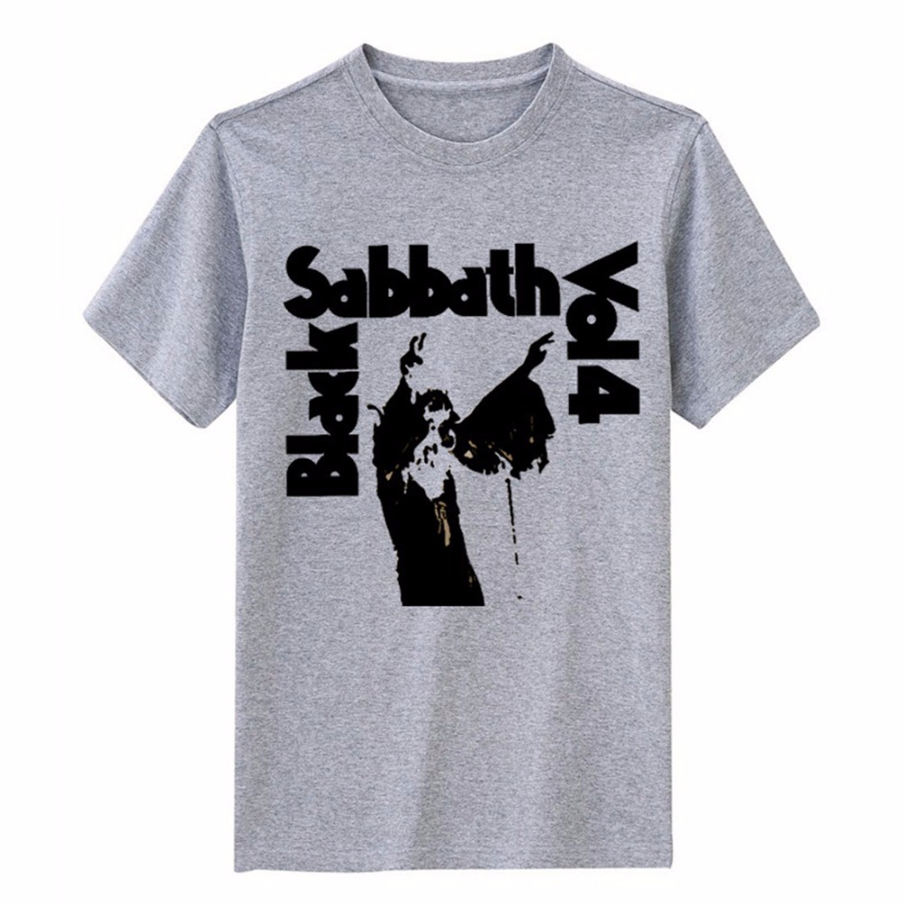 5140065faa115 Black Sabbath VOL.4 drukowanie wysokiej jakości modal bawełna tee Brytyjski  styl szczupły szary i biały kolor