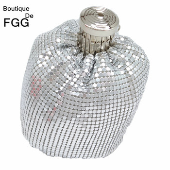 Boutique De FGG Mini Fashion Aluminum Day Clutches Women Casual Coin Purse Money Bag Evening Party Dinner Clutch Handbag