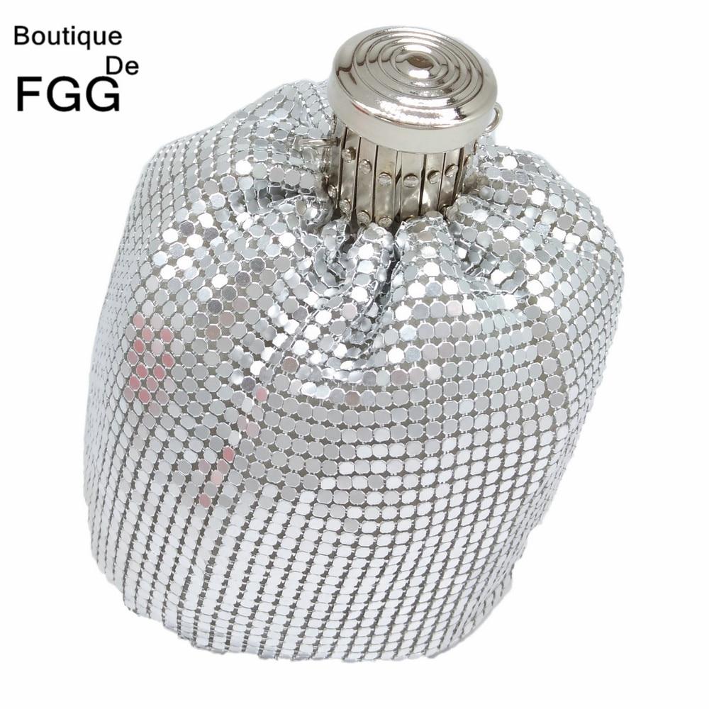 Boutique De FGG Mini Fashion Aluminum Day Clutches Women Casual Coin Purse Money Bag Evening Party Dinner Clutch Handbag