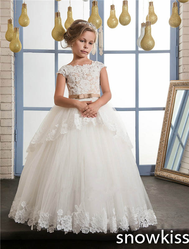 First communion dress for little girl white/ivory 2018 flower girl dress with lace appliques pleats tulle cute kid evening gowns 2017 red cute flower girl dress for wedding with crystals ruffle tulle baby lace dress little kids pageant gowns