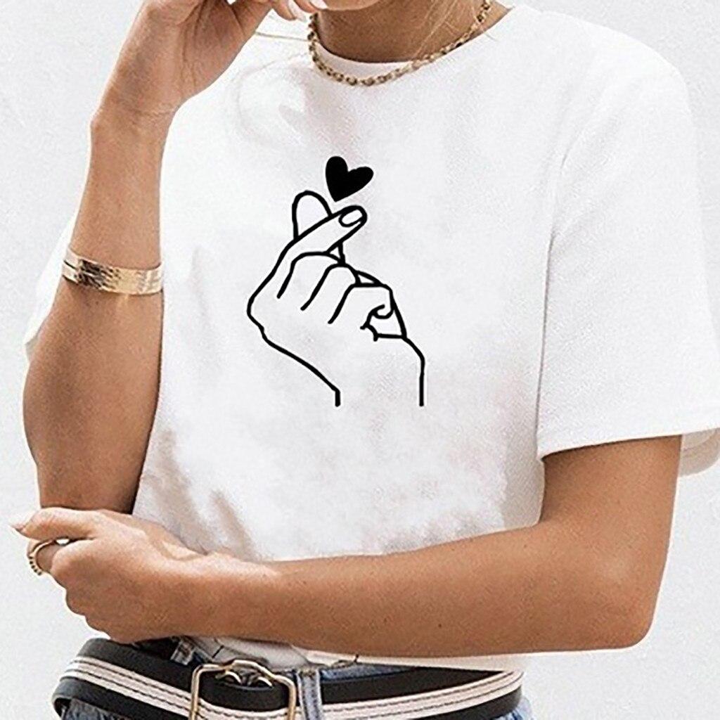 Рубашка поло, жесты, принт любви, женская рубашка с принтом для девочек, Повседневная рубашка с круглым вырезом и коротким рукавом, рубашка б...