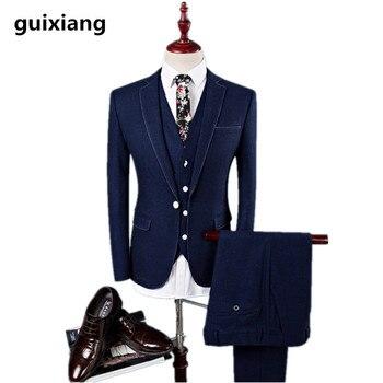 (Jacket+Vest +Pants) 2017 Slim comfortable Men casual business suits jacket Men's wool suits wedding dress suit men size M-4XL
