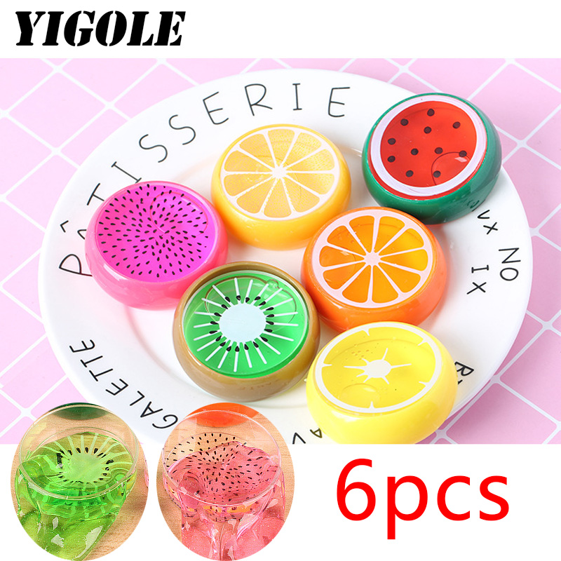 6pcs Style Pretty Fruit Crystal Clay Colorful Soft Slime Scented Stress Relief Sludge Toy Learning & Education Slime Toys
