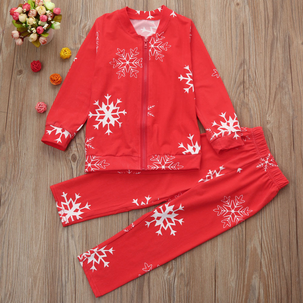 Toddler Baby Snowflake Blouse Pants Zipper Pajamas Christmas Set Family Clothes OCT27 ...