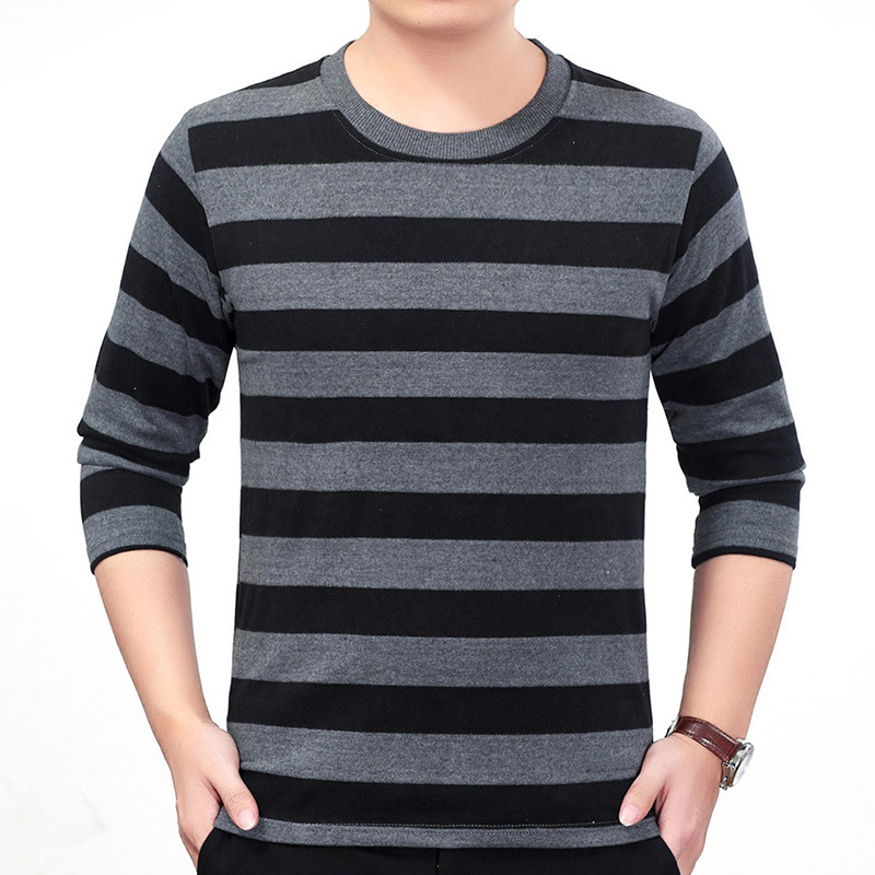 16 Color Knitted Sweater Men Fashion Patchwork Striped Pullover O Neck Male Basic Shirt Slim Long