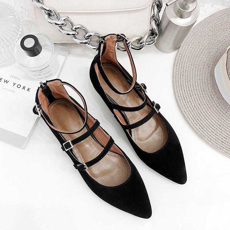 Bouche Pointu Moutons Anti Femmes Chaussures Jane Mary Profonde Dames Mat Printemps De Plates Peu Boucle velours Simples 0FxqR4