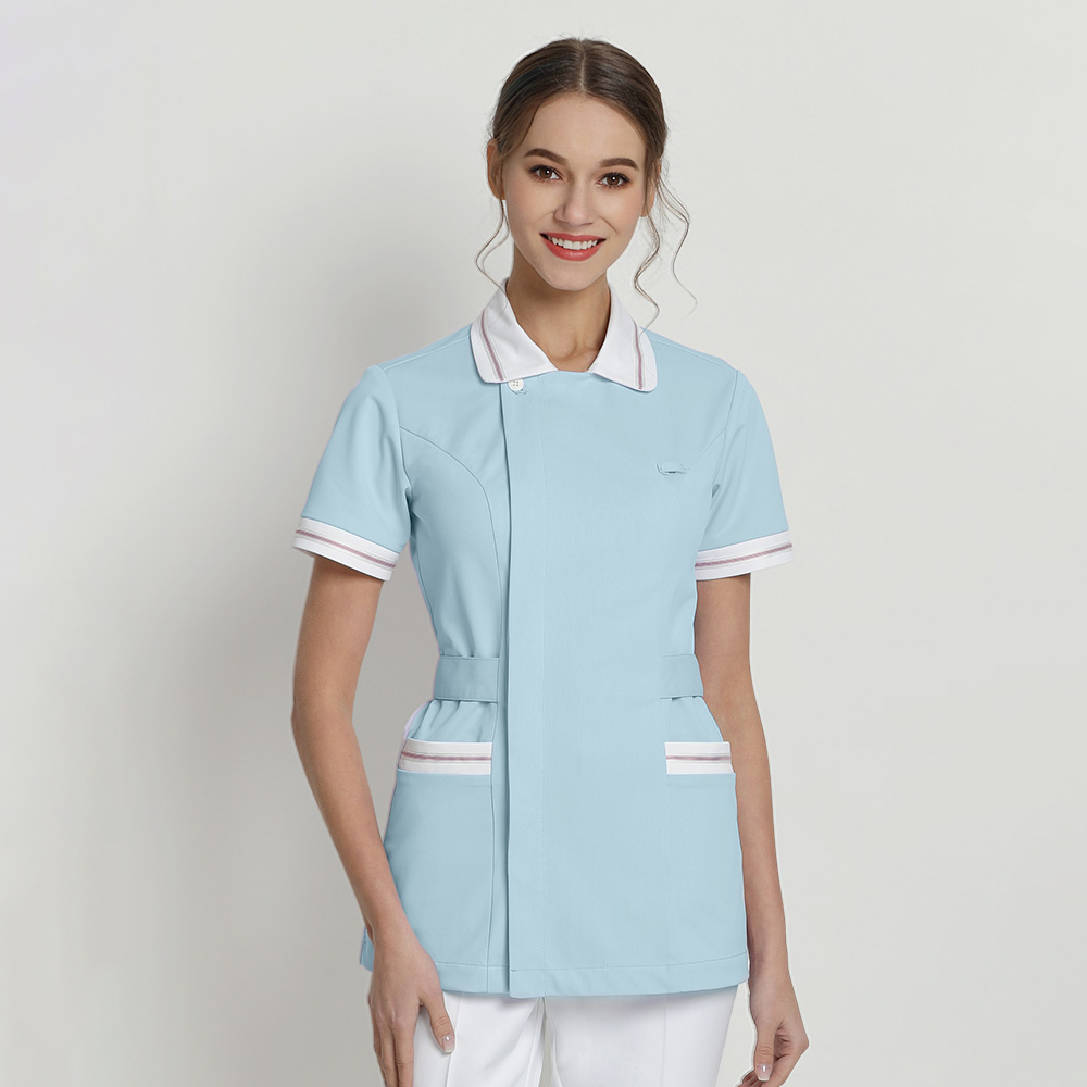 Stretch Nurse Scrub Tops Surgical Work Top Light Blue For Women Hospital OR Workwear Beautician Work Uniforms Doctors