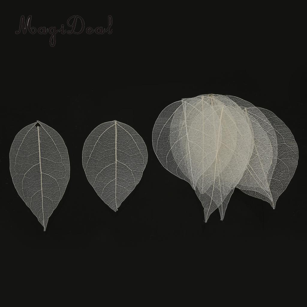 50pcs Natural Skeleton Leaves Bookmarks for Wedding Crafts Purple+White