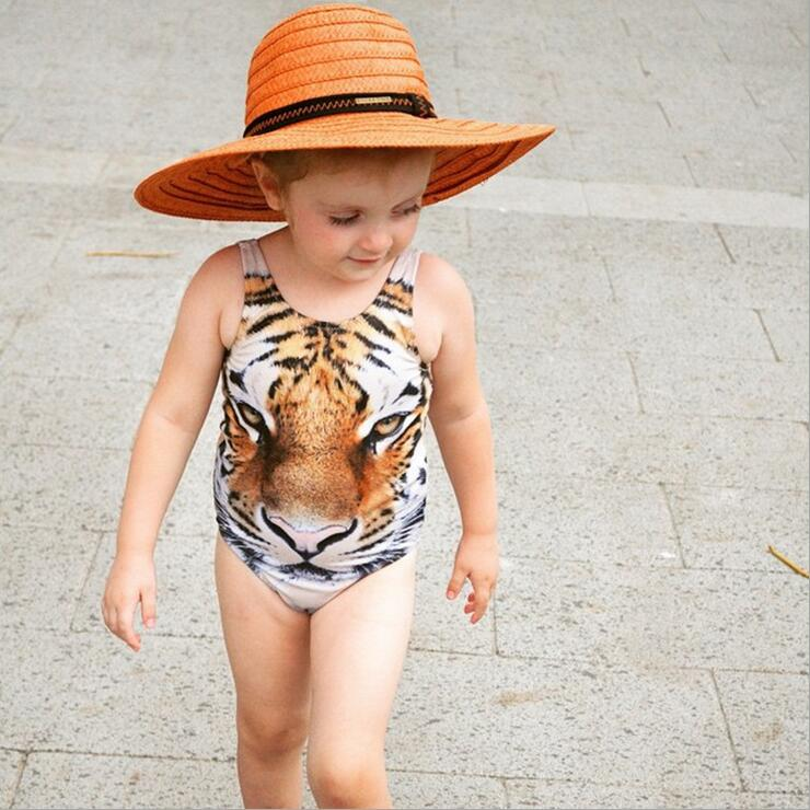 45c241aeb4c6 Wild animal tiger pattern infant toddler baby girl one piece swimwear  children lovely animal swimsuit baby boy triangle jumpsuit-in Swimwear from  Mother ...