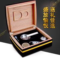 COHIBA Accessories Quality Black Cedar Wood Piano Cuban Cigar Humidor Storage Box W Hygrometer Humidifie Ashtray Cutter Set