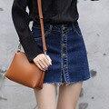 Yichaoyiliang Yichaoyiliang Mujeres Una Línea de Cierre de Botones de Metal de Las Borlas del Dobladillo de Mezclilla Corto Verano Femenino de Cintura Alta Mini Falda