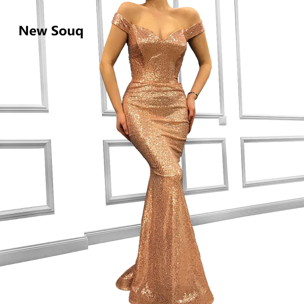 Fashion Rose Gold Sequins Prom Dresses Off The Shoulder Sleeveless Mermaid Evening Dress 2019 Plus Size Bridesmaid Dress