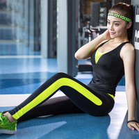 New Women Skintight Fitness Suits Quick Dry Elastic Sportswear Set Yoga Dancing Running Girls Three Piece