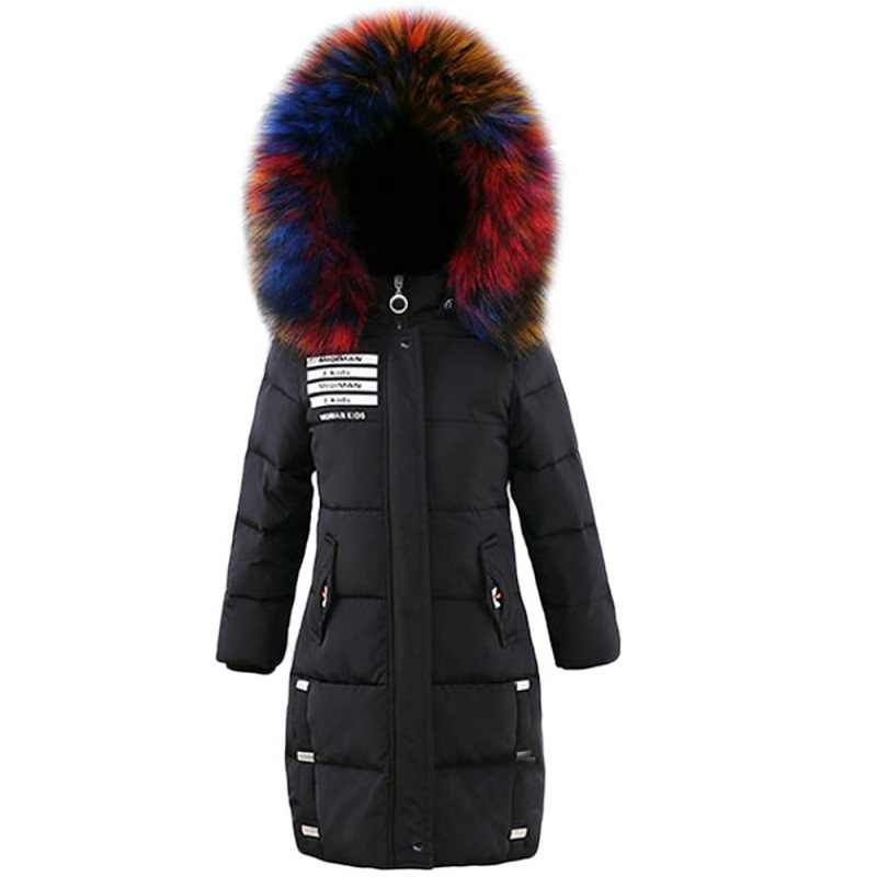 Children Winter Jacket Girl Winter Coat Kids Warm Parka Thick Colored Fur Collar Hooded Long Down Coats For Teenage6 8 10 12 14