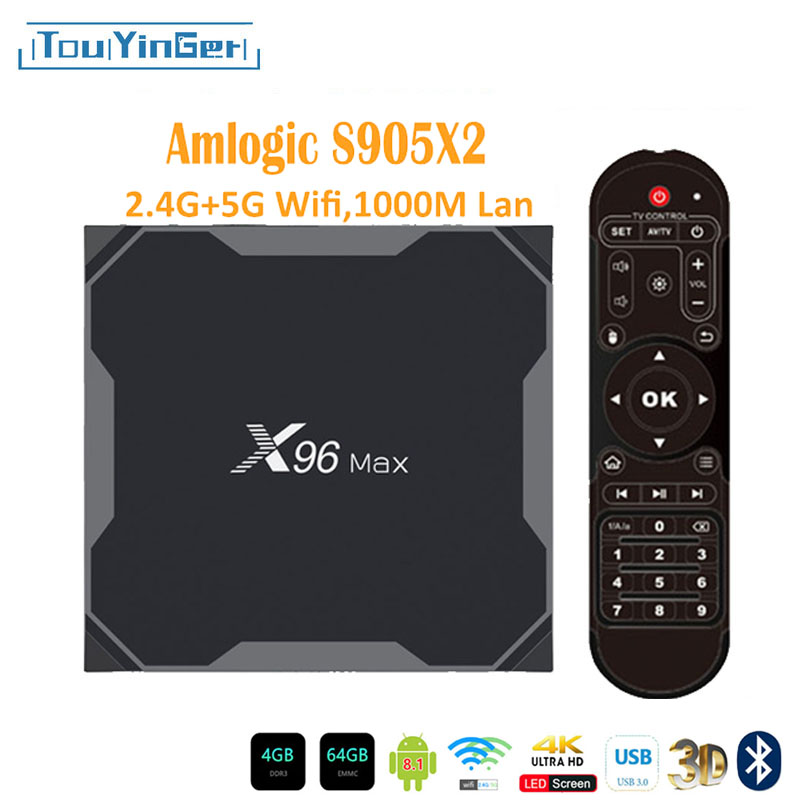 Top-Box Quad-Core X96max LPDDR4 Android H.265 4gb 64gb Amlogic S905x2 1000M 5ghz-Wifi