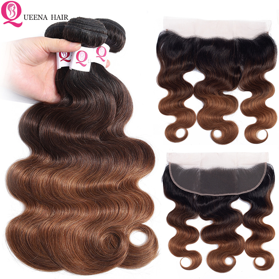 Queena Raw Indian Hair Body Wave Ombre Human Hair Weave With Frontal Closure Remy 1B/4/30 Pre Plucked Lace Frontal With Bundles