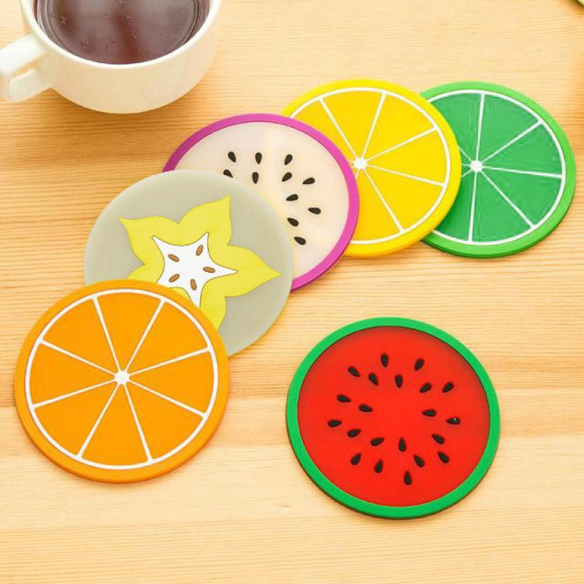 Fruit Coaster Silicone Tableware Mats pad Colorful Cup mat Drinks coddee tea Holder Placemat Cool tools surface protectors mar6