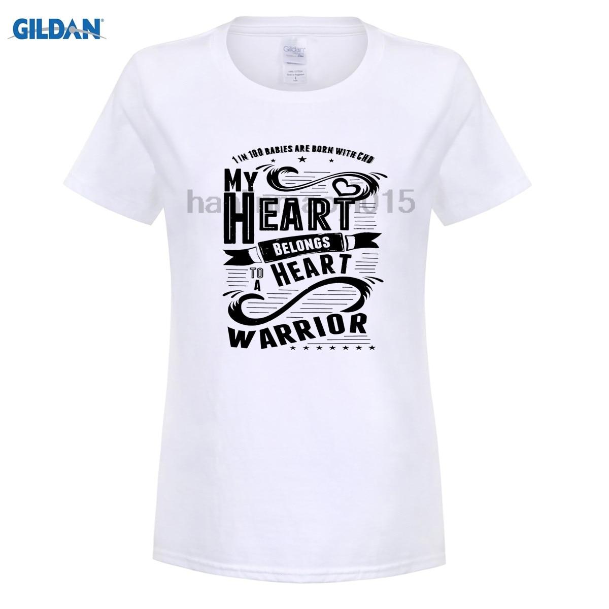GILDAN 100% Cotton O-neck printed T-shirt CHD Shirts My Heart Belongs To A Heart Warrior T-Shirt for women