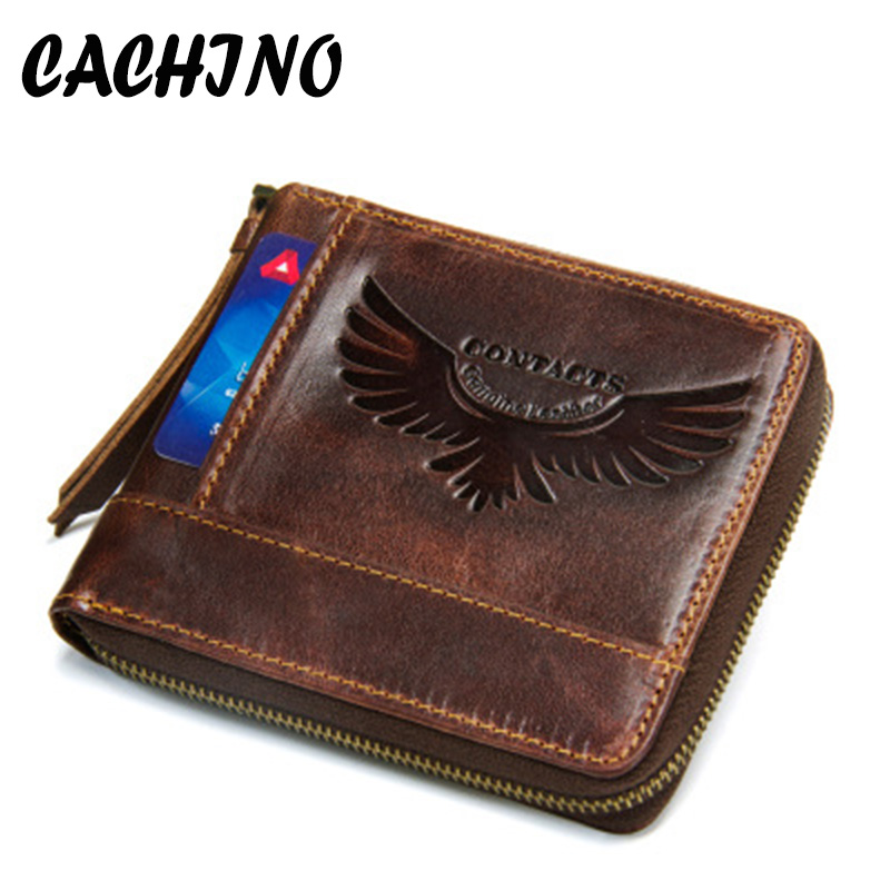 CACHINO Genuine Leather Eagle Wallet Men New Brand Purses Brown Bifold Wallet RFID Blocking Wallets ID Card Holder Clutch ljl bullcaptain genuine leather men wallet rfid blocking vintage bifold wallets credit cards holder