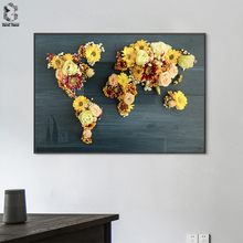 купить Abstract World Map Canvas Art Print Wall Pictures Vintage Flower Map Of World Poster Canvas Painting Home Decoration по цене 203.93 рублей