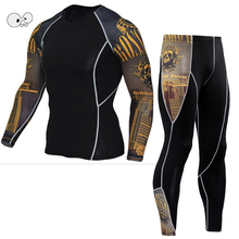 Mens Sports Running Set Compression Shirt + Pants Skin-Tight Long Sleeves Fitness Rashguard MMA Training Clothes Gym Yoga Suits