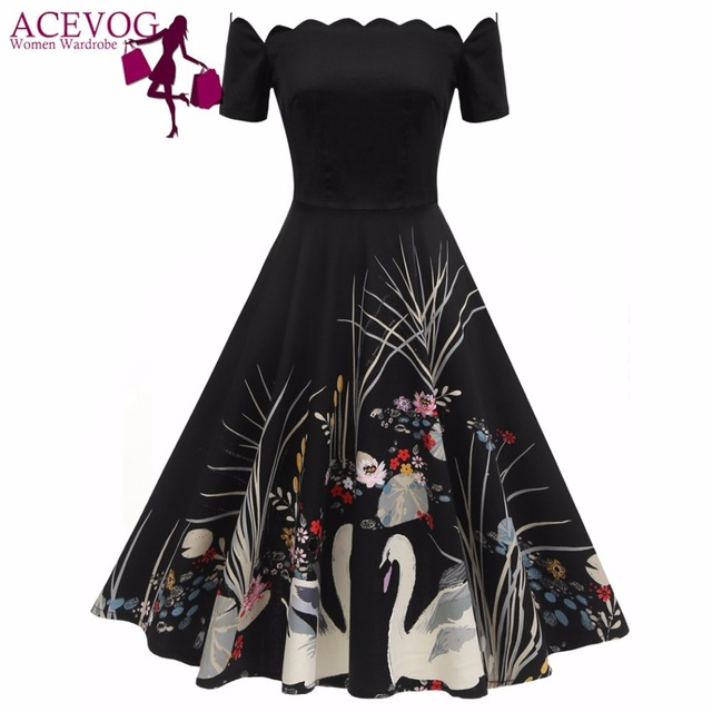 e7792c2a4d ACEVOG Women Party Dress Vintage 50S 60S Short Sleeve Sexy Off Shoulder  Print Rockabilly Jurken Swing Dresses Vestidos Mujer