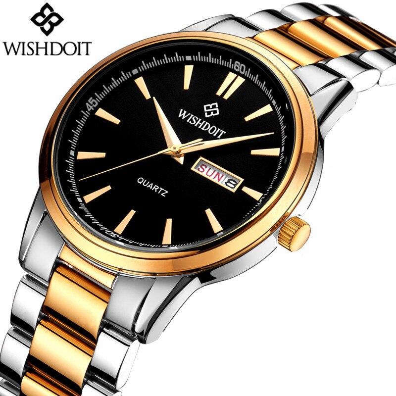 цены на relogio masculino Male Watches Luxury Brand Stainless Steel Waterproof Quartz Watch Men Fashion Business Wristwatch WISHDOIT в интернет-магазинах