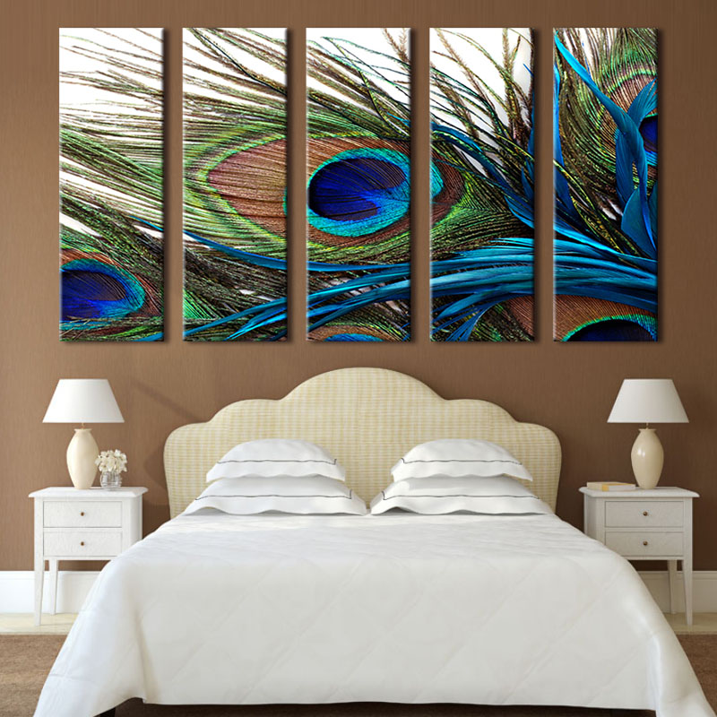 5 pcs set peacock feather wall art top home decoration modern wall